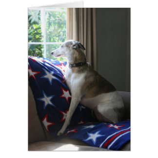 """Whippet """"Missing You"""" Greeting Card"""