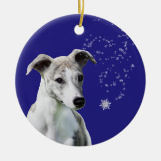 Whippet Puppy Holiday Snow Flurry Ornament