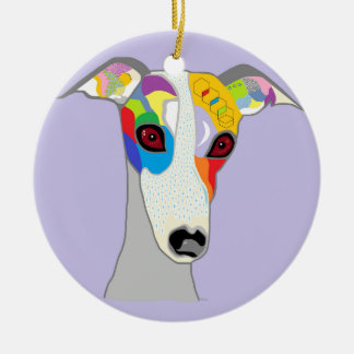 WHIPPET ROUND CERAMIC DECORATION