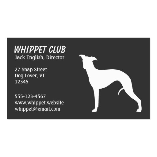 Whippet Silhouette Business Cards