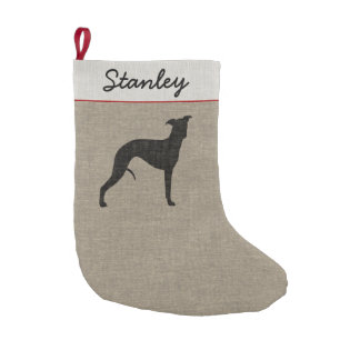 Whippet Silhouette with Custom Text Small Christmas Stocking