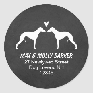 Whippet Silhouettes Love Return Address Classic Round Sticker