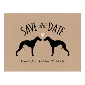 Whippet Silhouettes Wedding Save the Date Postcard