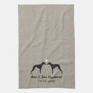Whippet Silhouettes with Heart and Text Tea Towel