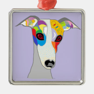 WHIPPET Silver-Colored SQUARE DECORATION
