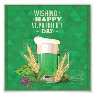 whishing you a happy st.patrick's day,green,beer, photo print
