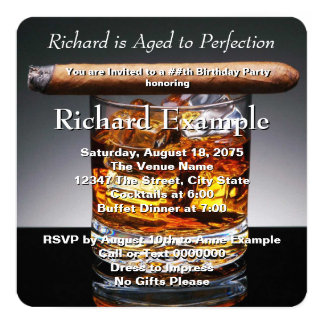 Whiskey and Cigar Birthday Party 13 Cm X 13 Cm Square Invitation Card