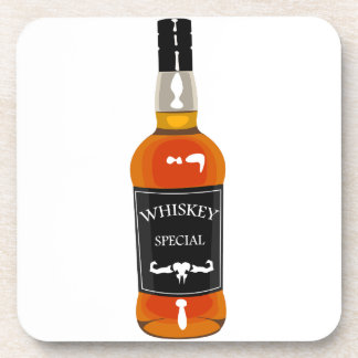 Whiskey Bottle Drawing Isolated On White Backgroun Coaster