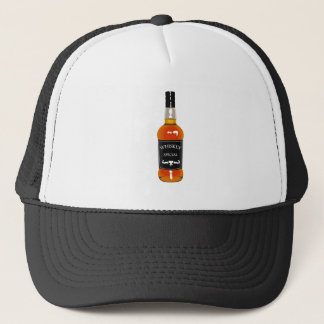 Whiskey Bottle Drawing Isolated On White Backgroun Trucker Hat