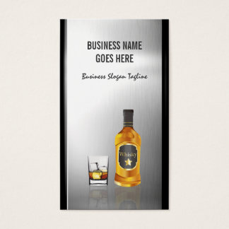 Whiskey Liquor Store Brushed Stainless Steel Metal Business Card