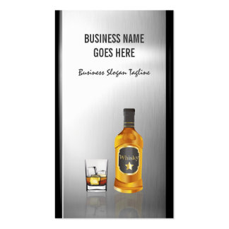 Whiskey Liquor Store Brushed Stainless Steel Metal Pack Of Standard Business Cards