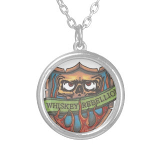 whiskey rebellion logo round pendant necklace
