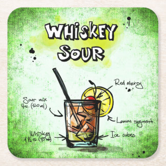 Whiskey Sour Drink Recipe Square Paper Coaster