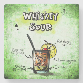 Whiskey Sour Drink Recipe Stone Coaster
