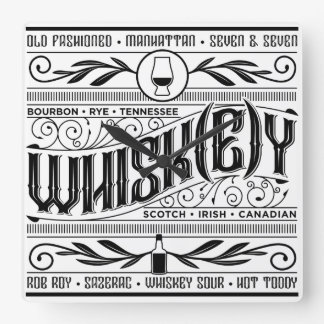 Whiskey / Whisky Time! Square Wall Clock