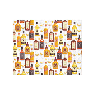 Whisky Bottles With Glasses Canvas Print