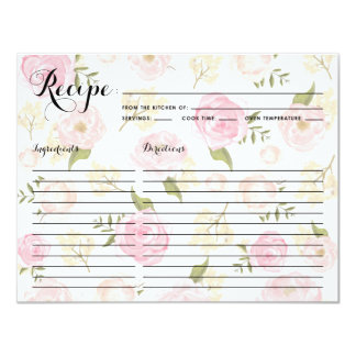 Whismical Watercolor Peonies Pattern Recipe Card 11 Cm X 14 Cm Invitation Card