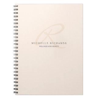 Whisper Pink Elegant Minimalist Monogram Notebooks