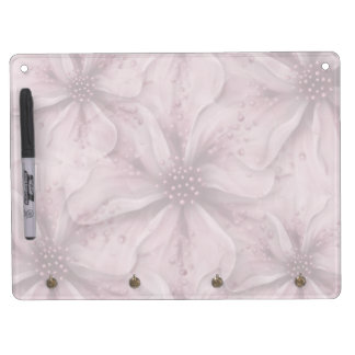 Whisper Pink Flowers Dry Erase Board With Key Ring Holder
