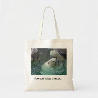 whisper sweet nothings in her ear.... tote bag