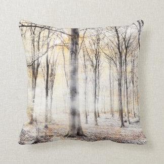 Whispering woodland in autumn fall cushion