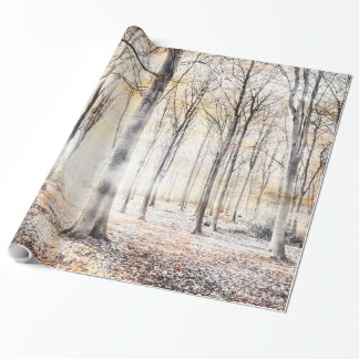 Whispering woodland in autumn fall wrapping paper