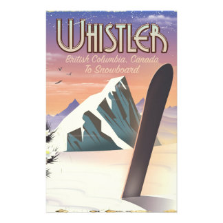 Whistler British Columbia snowboarding poster Stationery