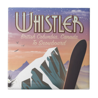 Whistler British Columbia snowboarding poster Tile