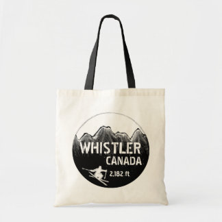 Whistler Canada black ski art logo reusable bag