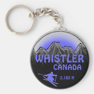 Whistler Canada blue purple ski art keychain