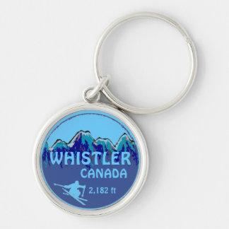 Whistler Canada blue ski art keychain