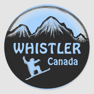 Whistler Canada blue snowboarder stickers