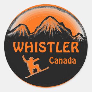 Whistler Canada orange snowboarder stickers