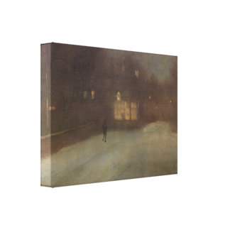 Whistler - Nocturne Grey and Gold Snow in Chelsea Stretched Canvas Print