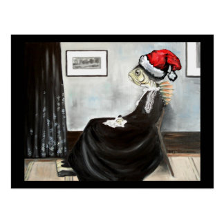 Whistler's Mother as a Fish with a Santa Hat Postcard