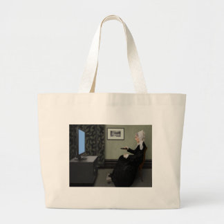 Whistler's Mother Watching T.V. with Remote Canvas Bags