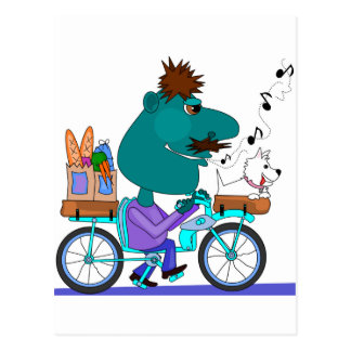 Whistling bicycle rider postcard
