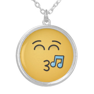 Whistling Face with Smiling Eyes Silver Plated Necklace