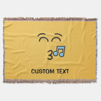 Whistling Face with Smiling Eyes Throw Blanket