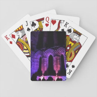 Whitby Abbey illuminated ruins Gothic goth Playing Cards