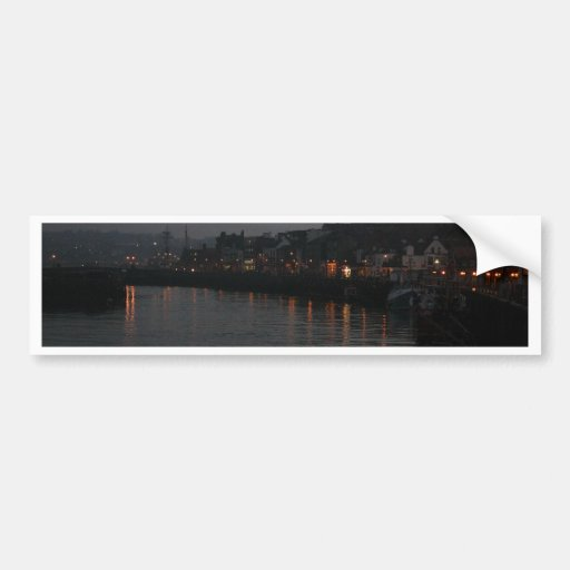 Whitby harbour at night bumper stickers