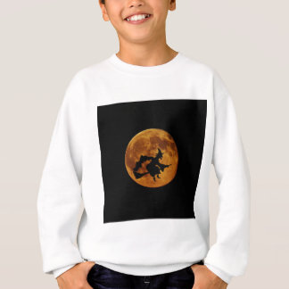 Whitch on a broom in front of the Moon, silhouette Sweatshirt