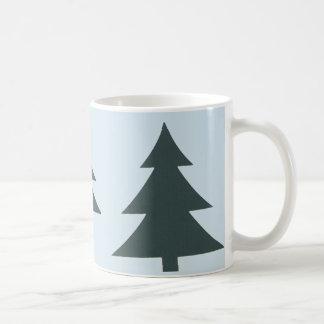 White 11 oz Classic Mug with Pine trees
