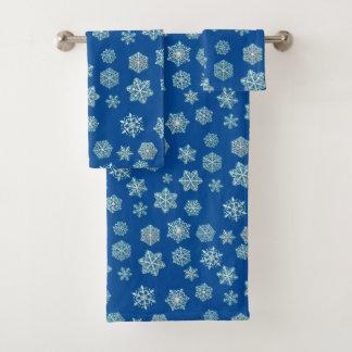 White 3-d snowflakes on a cobalt blue background bath towel set