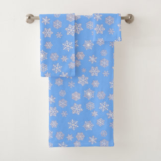 White 3-d snowflakes on an ice blue background bath towel set
