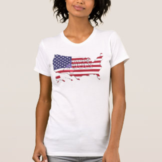 White 4th Of July Shirts With US Flag And Map