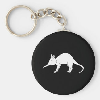 White Aardvark. Cute animal. Basic Round Button Key Ring