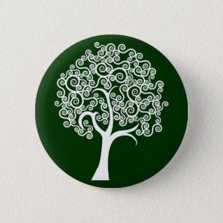 White Abstract Tree 6 Cm Round Badge