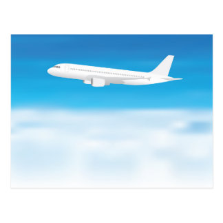 White aeroplane on blue sky cloud background postcard