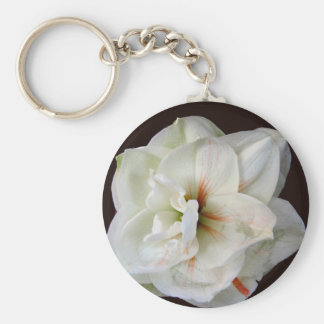 White Amaryllis Basic Round Button Key Ring